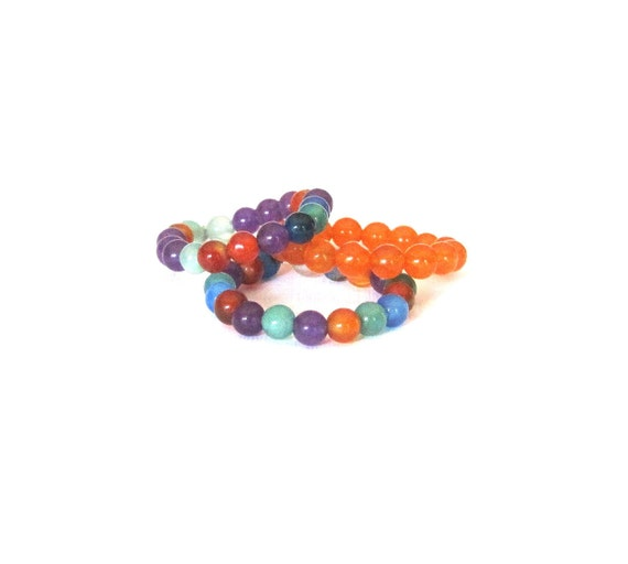 Beaded Stretch Stack Rings Set of 3 Multicolor and Orange