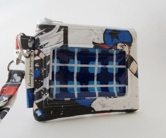 ID Card Holder/Zipper Pouch Wallet in Roller Derby Fabric
