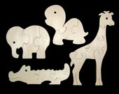 Childrens Wood Puzzles - Zoo Animals - Set of 4 Natural Wooden Jigsaw Puzzles - Fun for Toddlers and Kids - Makes a Great Gift