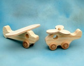 Wood Toy Airplane - Toy Helicopter - Airport Playset - Airplane Toy - Natural Wood Toy - Childrens Toy - Toddler Toy - Toy Airplane - Plane