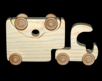 Wooden Toy Semi Truck and Car Carrier Trailer - Natural Wood Toy - Fun for Toddlers and Children - Makes a Great Gift