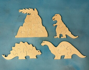 Childrens Wooden Dinosaur Puzzle Set - Includes 4 Dino Wood Toy Jigsaw Puzzles - Fun for Toddlers and Children