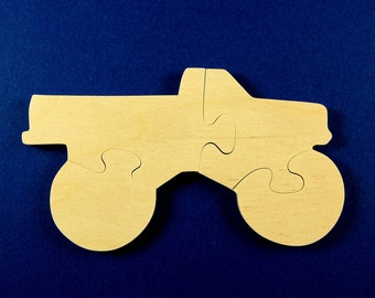 Monster Truck Party Favors - Childrens Wood Puzzles - Package of 10 Truck Puzzles - All Natural Wooden Toys - Fun for Toddler and Kid Partys
