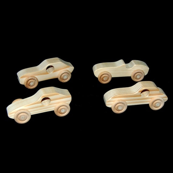 Natural Wood Toy Sports Cars - Set of 4