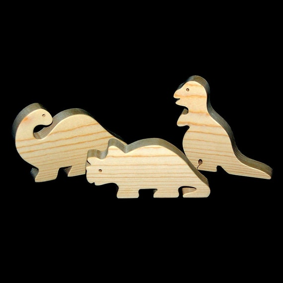 Natural Wood Toy Dinosaur Play Set