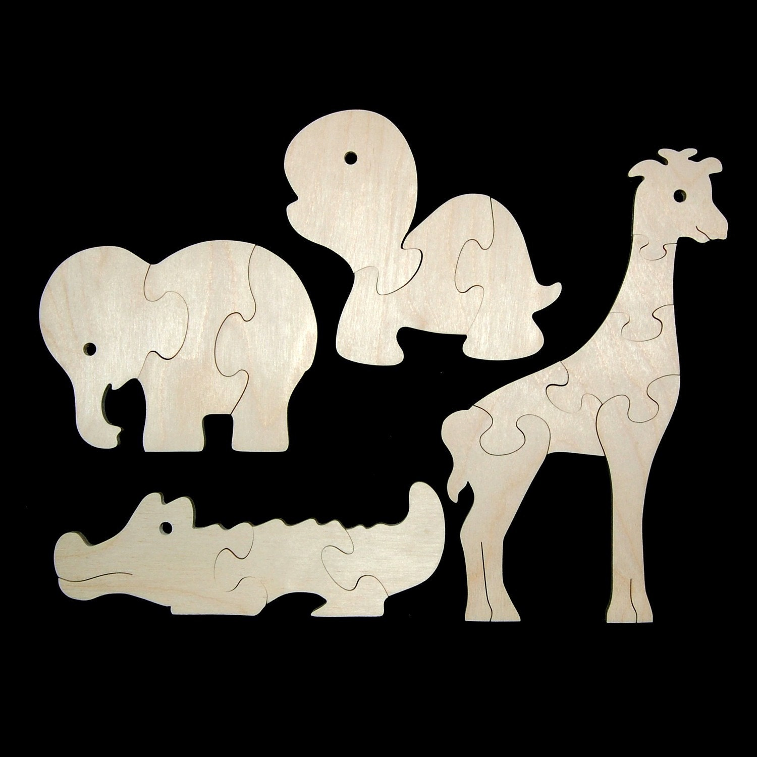 Childrens Wood Puzzles Zoo Animals Set Of 4 By Nwtoycrafters