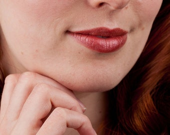 Natural Lip Gloss in Berry Wine Red Mineral Lipstick