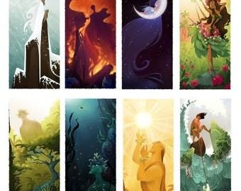 Set of 8 Hawaiian God Prints