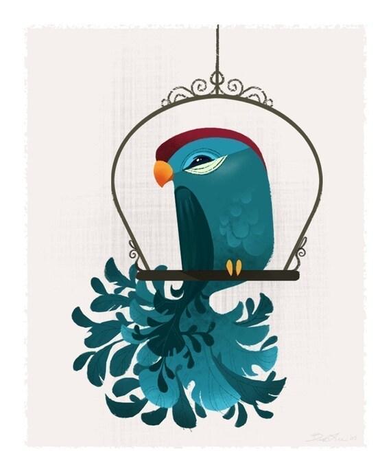 Blue Birdie Mini Print