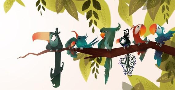 Bird Branch Mini Print