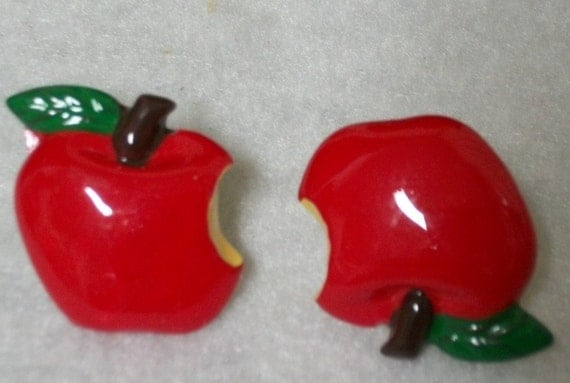 Unique Enameled Red  Apple Earrings