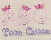 Teen Queen Embroidery Fonts 3 Sizes