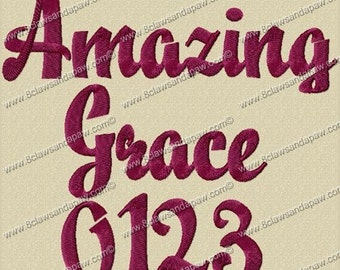Amazing Grace Embroidery Fonts 3 Sizes