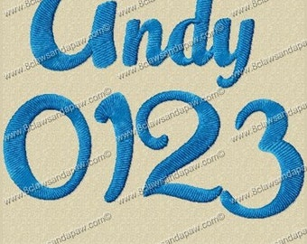 Andy Embroidery Fonts 3 Sizes