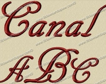 Canal Embroidery Font 3 Sizes