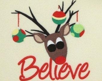 Believe-Reindeer Embroidery Design 4x4