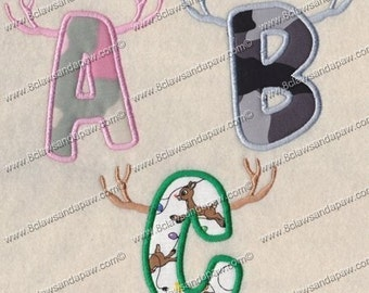 Antlers Applique Embroidery Font Alphabet Design