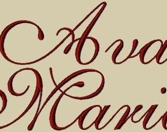 Ava Maria Embroidery Font 3 Sizes