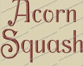 Acorn Squash Embroidery Fonts in 3 Sizes