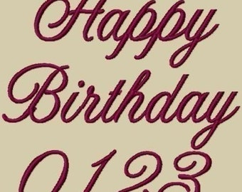 Happy Birthday Machine Embroidery Font in 3 Sizes