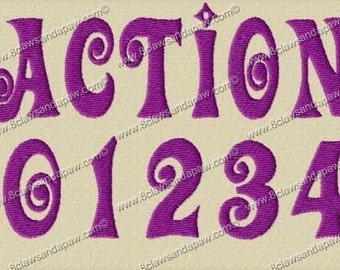 Action Embroidery Fonts in 3 Sizes