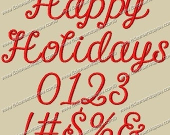 Happy Holidays Embroidery Font 3 Sizes