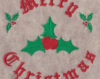 Merry Christmas and Holly Embroidery Design