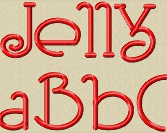 Jelly Machine Embroidery Font Multiple Sizes