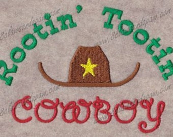 Rootin' Tootin' Cowboy Machine Embroidery Design 5x7