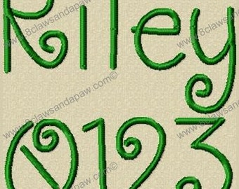 Riley Alphabet Machine Embroidery Design Multiple Sizes