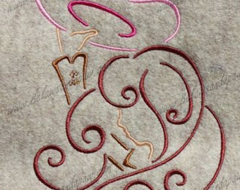 Cow Girl Embroidery Design-4