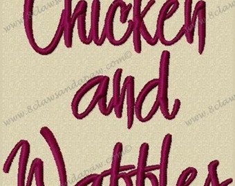 Chicken and Waffles Machine Embroidery Font 3 Sizes