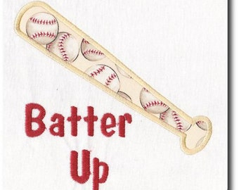 Applique Batter Up Baseball Embroidery Design-includes multiple sizes