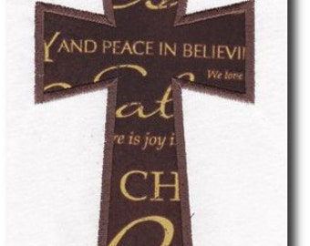 Applique Cross Embroidery Design-includes multiple sizes