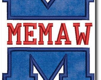 Memaw Applique Embroidery Design-Includes 3 Sizes