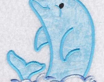 Applique Dolphin Play Embroidery Design-Includes 3 Sizes