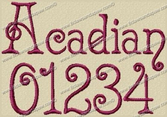 Acadian Embroidery Fonts in 3 Sizes