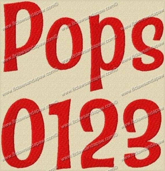 Pops Embroidery Fonts 3 Sizes