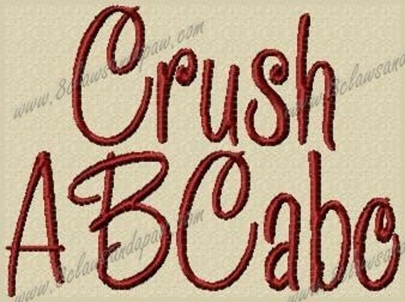 Crush Embroidery Font Includes 3 Sizes