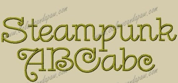 Steampunk Embroidery Font  Includes 3 Sizes