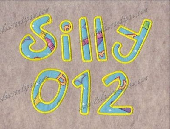 Silly Applique Embroidery Font