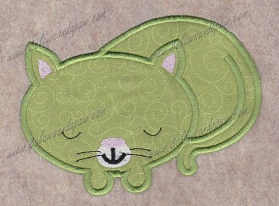 Applique Sleeping Cat Machine Embroidery Design