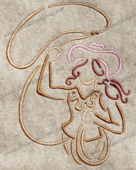 Cow Girl Embroidery Design-9
