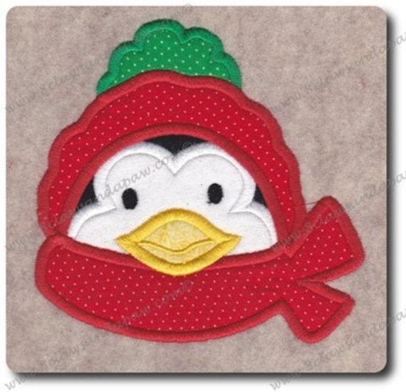 Applique Penguin Scarf Embroidery Design Multiple Sizes