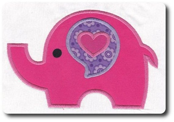 Girl Elephant Applique