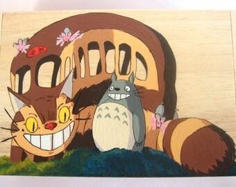 My Neighbor Totoro Hand Paint wood Box Studio Ghibli 2 Cat bus