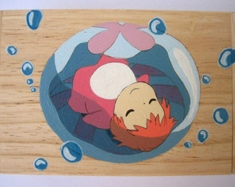 PONYO on the Cliff by the Sea Hand Paint wood Box 5