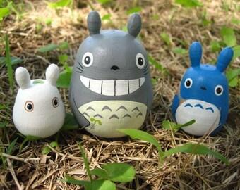 Set of 3 TOTORO DOLL Studio Ghibli mini figure model toy 3