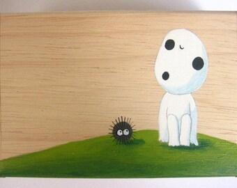 Princess Mononoke KODAMA Hand Paint name card wooden Box Studio Ghibli