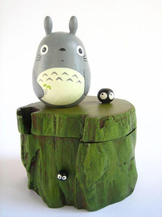 TOTORO TEAK WOOD BOX Studio Ghibli doll figure toy 29